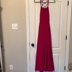 Lulus fuchsia backless maxi dress